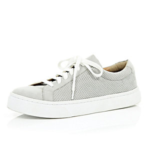 Grey perforated lace up trainers