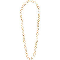 Gold tone circle long chain necklace