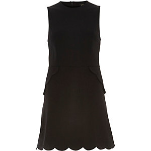 Black scallop edge A-line dress