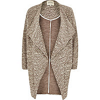 Brown draped front jersey jacket