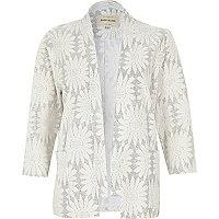 White glittery floral jacquard kimono