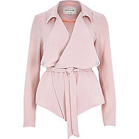 Light pink cropped drape trench coat