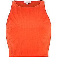 Red ribbed racer crop top