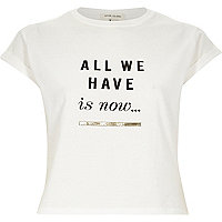 White slogan print cropped fitted t-shirt