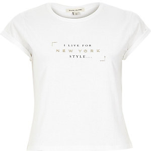 White New York style print cropped t-shirt