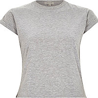 Plain grey cotton fitted cropped t-shirt