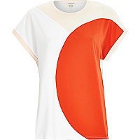 Red curved colour block t-shirt