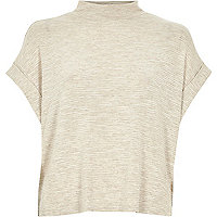 Beige turtle neck short sleeve top