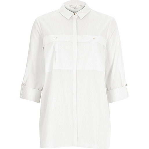 White turn up sleeve shirt