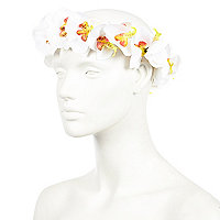 White orchid flower hair garland