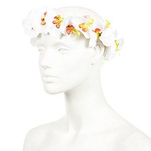 White orchid flower hair garland
