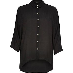 Black dipped hem shirt