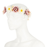 Pink vintage flower hair garland