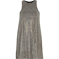 Grey metallic sleeveless swing dress