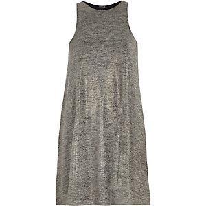 Grey metallic sleeveless swing dress