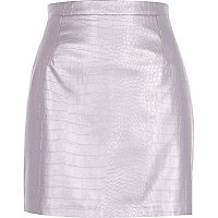 Purple metallic leather-look mock crock skirt