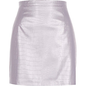 Purple metallic leather-look skirt