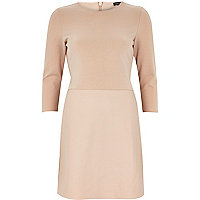 Light pink leather-look panel dress
