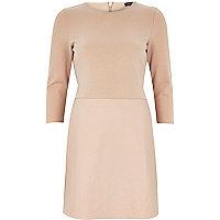 Light pink leather-look panel dress