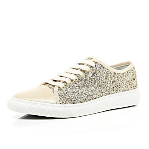 Gold lace up glitter trainers