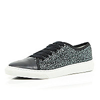 Dark grey lace up glitter trainers