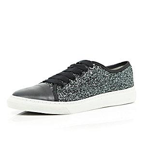 Dark grey lace up glitter trainers