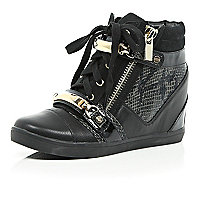 Black wedged high-top trainers