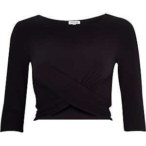 Black wrap tie back crop top