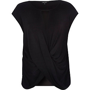 Black cut out wrap front top