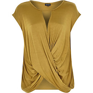 Bronze cut out wrap front top