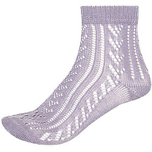 Light purple pointelle ankle socks