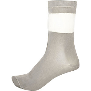 Light grey mesh ankle socks