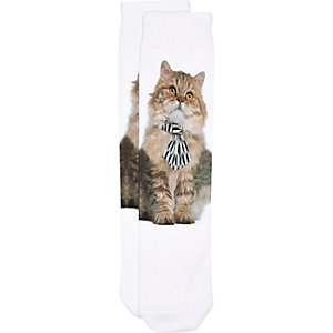 White bow tie cat print socks