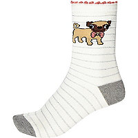 White stripe pug ankle socks