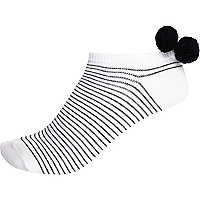 White stripe pom pom trainer socks