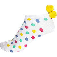White spot pom pom trainer socks