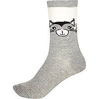 Grey kitten print ankle socks