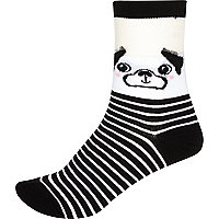 Black pug print ankle socks