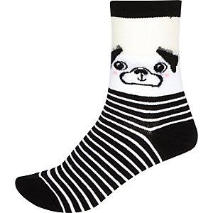 Black pug print ankle socks