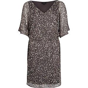 Grey sequin embellished occasion dress