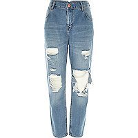 Mid wash ripped slim mom jeans