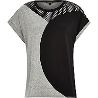 Grey curved colour block t-shirt