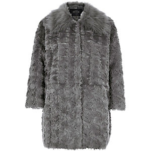 Grey faux-fur coat