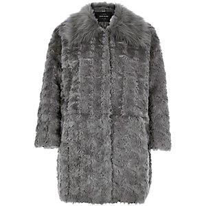 Grey faux-fur winter coat