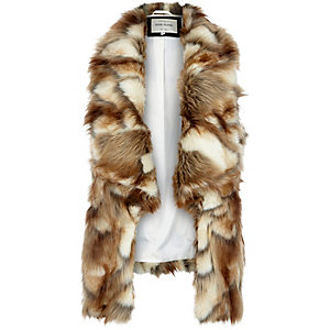 Brown faux fur gilet