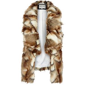 Brown faux fur gilet