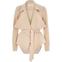 Beige cropped drape trench jacket