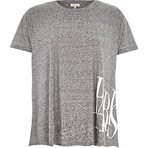 Grey space dye Paris print swing t-shirt