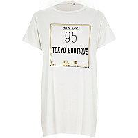 White Tokyo Boutique gold side split t-shirt