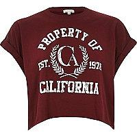 Red Cali print cropped boyfriend t-shirt